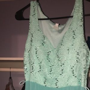 Dresses & Skirts - Mint sequin gown NWOT